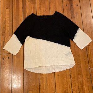 Ella Moss | Black & Light Cream Colorblock Sweater